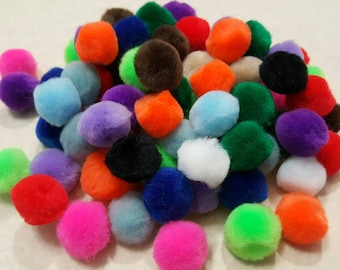 "Pompoms/Pom Poms-Destash-1/2-3/4"" Mixed Colors - Chenille Pompoms - 90 pieces - Loose Pompoms"