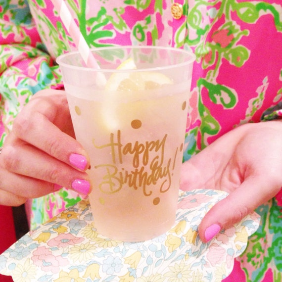 Birthday Cups (reusable) - Qty 12