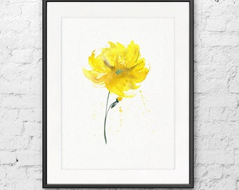 Watercolor yellow narcissus art print, flower watercolor print, flower illustration, floral decor - F68