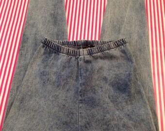 Vintage acid wash stirrup pants stone washed stretch leggings Size M