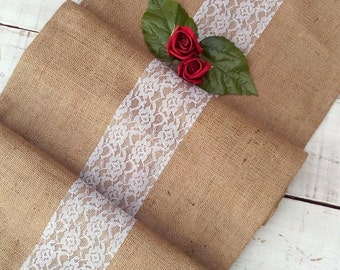 SALE - Burlap Runner with Lace - Rustic Table Runner with Lace - Table Decor - Wedding Runner with Lace - Wedding Runner
