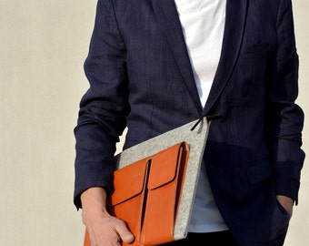 "13"" Pro MacBook case / 15"" Pro MacBook 2016 New Macbook case with pockets zip tan italian leather light grey merino wool felt"