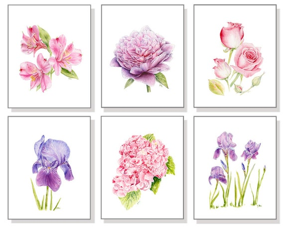 Flower Print Set Floral Print Set Flower Watercolor Flower Painting Floral Painting Flower Art Rose Iris Hydrangea Lily Peony Print Set of 6