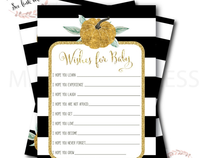 Pumpkin Wishes for Baby // Pumpkin Baby Shower // Little Pumpkin // Advice  Card // Black and White //Gold Glitter// STARS HOLLOW COLLECTION