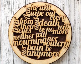 Revelation 21:4 Wooden Magnet