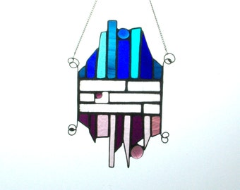 Blue and Purple stained glass suncatcher with beads and wire work