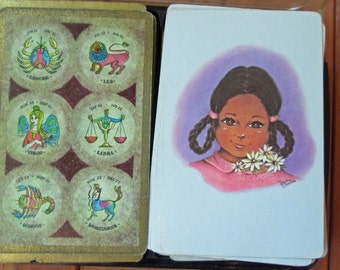 Vintage Astrology Theme Playing Cards, Little Girl,  Storage Box