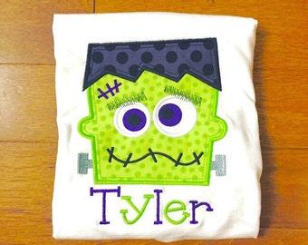 Personalized Frankenstein Halloween Applique shirt
