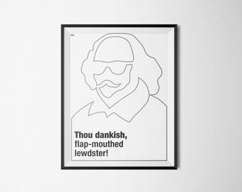 Thou dankish, flap-mouthed, lewdster! | Hipster Shakespeare | Poster