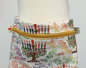 "Reduced Hanukkah Children's fanny pack strap 14"" each  and pouch 10"" with snaps for adjusting"