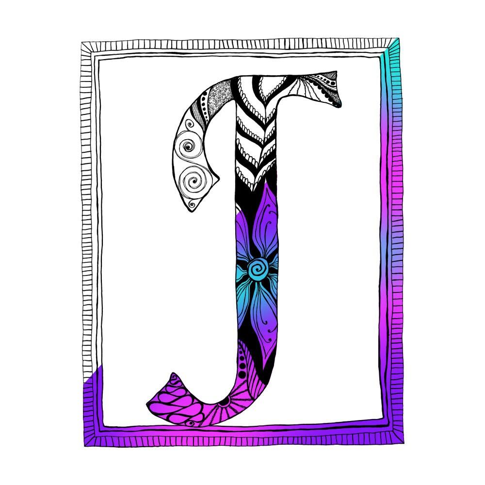 Doodle Coloring Page Letter J Alphabet
