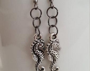 Seahorse- Seahorse Earrings- Surgical Steel Sea Horse Earrings- Surgical Steel Earrings- Handmade Earrings- Seahorses- Earrings- Aquatic