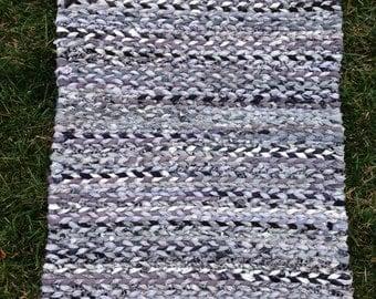 Rag Rug Loom Woven Grey Handmade 17x24