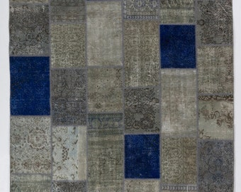 Blue, Gray and Beige Handmade Turkish Patchwork Rug