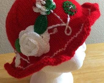 Floral fantasy knit hat