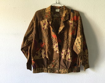 Vintage 80s Cotton Jacket Boho Bohemian