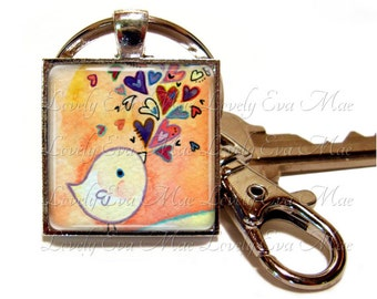 Little Bird Keychain with Clip, Key Fob with Clasp, Birdie, Key Chain, Key Ring, Keyring, Lauren Alexander, Heart, Watercolor, Bird Lover