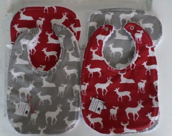 Red and Gray Deer Baby Bib and Burp Cloth  Sets - FREE SHIPPING!!!