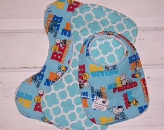 Sweet Charlie Brown Bib and Burp Cloth Set!  FREE SHIPPING !!!