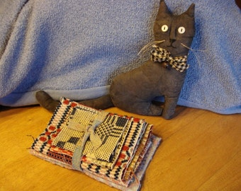 Primitive Duo Fabric Kitty Cat, Antique Coverlet Stack, Cat is 9+ inches tall, wool and linen coverlet peices, shelf sitter, tucks