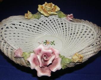 Vintage Ornate Large Capodimonte Rope Braided  Rose Bowl