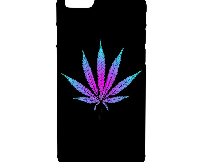Purple Weed Leaf iPhone, Galaxy, Note, LG G4 Hybrid Rubber Protective Case