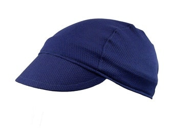 Navy blue moisture wicking cycling cap - handmade cap; moisture wicking cap; bicycle cap; polyester cap; bike wear; cycling clothes
