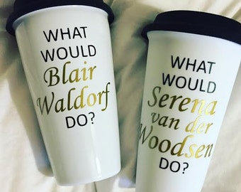 Travel Coffee Mug // What would _____ do? Black lid