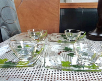 Snack Plate With Cup Set - 4 Thick Glass Sets - Adorned With Green Leaves and Branches
