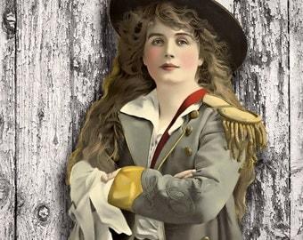 Retro Print, 1900s, Vintage Print, Retro Print, Theatre Gifts, Army Art, Gifts for Women, Shabby Chic Decor, Vintage Portraits, Bohemian Art