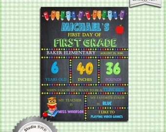 First Day of School Sign, Boy, Back to School, Kindergarten, Pre-School, Grade School Sign - DOWNLOAD Instantly - EDITABLE TEXT in Word