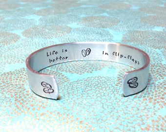 Beach Lover | Family reunion | flip flop fun | Life is better in flip-flops | Custom Hand Stamped by MadeByMishka.com