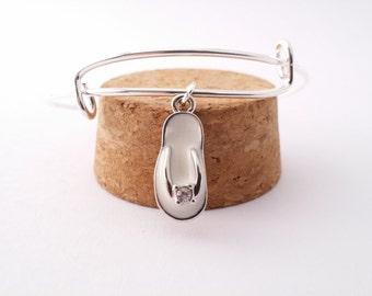 White Flip Flop bangle bracelet