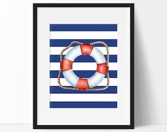 Nautical Decor, Life Buoy Decor, Bathroom Decor, Nautical Bathroom, Bathroom Art, Bathroom Wall Art, 8x10 Download Print, Instant Download