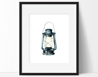 Lantern Print - Watercolor Lantern Printable - Nursery Cabin Decor - Camping Decor - Boy Nursery Lantern - Download PRINTABLE 5x7 and 8x10