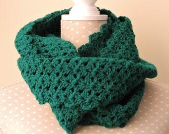 Crochet Snood in Dark Green Wool