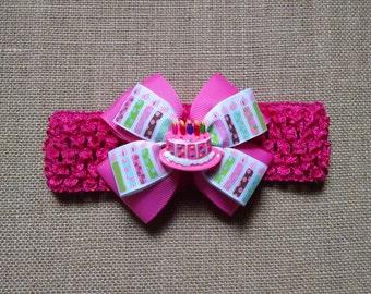 Birthday Headband, Baby Girl Headband, Birthday Cake Headband, Toddler Headband, Baby Hair Accessory, Pink Birthday Bow, Baby Birthday Bow