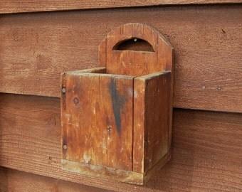 Rustic Wooden Wall Box, Old Weather Wall Box, Wood Wall Pocket
