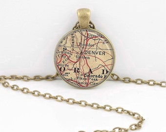 Denver Colorado Vintage Map  Geography Gift  Pendant Necklace or Key Ring