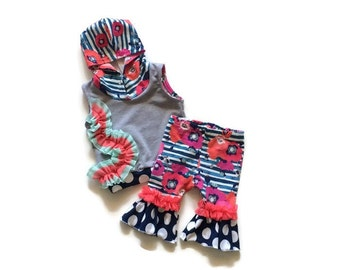 Baby girl clothes, summer outfit, 3-6 months,Hoodie, sleeveless hoodie, ruffle capris, colorful, unique