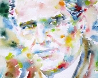 WERNHER VON BRAUN - original watercolor portrait - one of a kind!