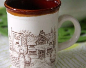 "Vintage Biltons ""The Plough Inn and The Black Swan Inn "" 1970's Brown and white ceramic coffee mug"