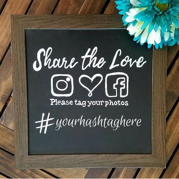 Framed Hand Lettered Hashtag Wedding Sign Instagram Hashtag