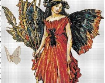 Red Poppy Fairy - Vintage Cross Stitch Pattern - Instant Download