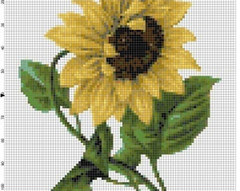 Two Sunflowers - Vintage Cross Stitch Patterns - Instant Download