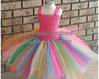 Rainbow Fairy Tutu Dress Party- Newborn, dress-up girl