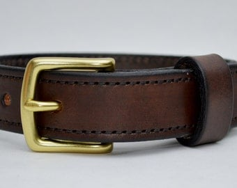 Men's Leather Belt. 1 Inch Wide. Handcrafted, Premium 8/9 Ounce USA Veg Tanned Leather, Black or Brown, Solid Brass Hardware, MB1035
