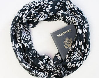 Dakota Scarf W/ Hidden Pocket- travel, hidden pocket scarf, gift, passport scarf, wedding, travel gear, travel gift, bridesmaid gift
