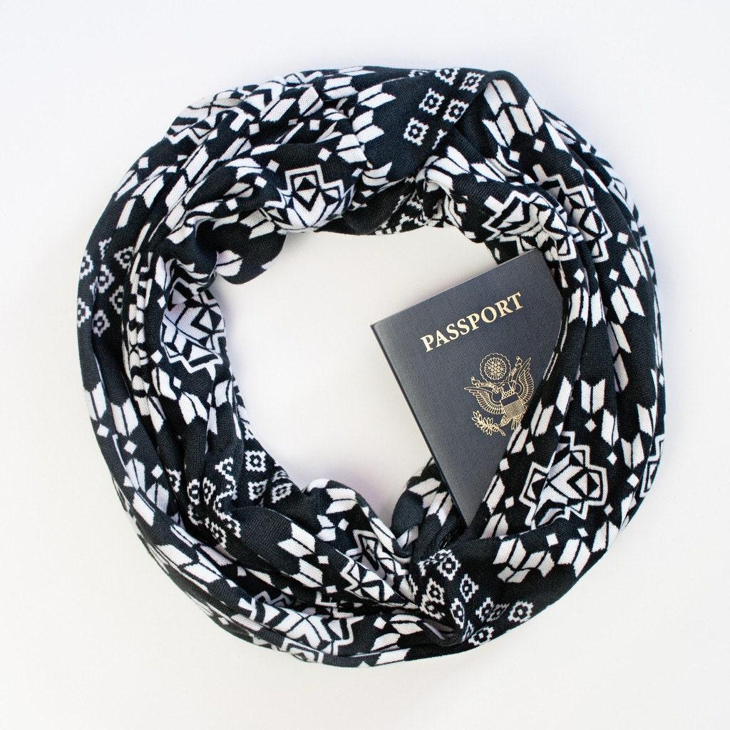 Dakota scarf w hidden pocket travel hidden pocket scarf for Travel scarf