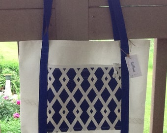Recycled sail cloth bag tote webbing handles, nautical, zip pocket, unlined, beach, vacation, books, for boat, cruise or travel, sailor gift